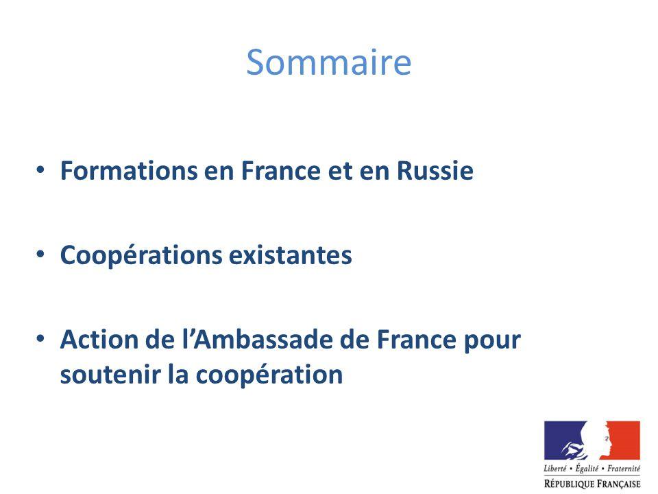 Sommaire Formations en France et en Russie Coopérations existantes