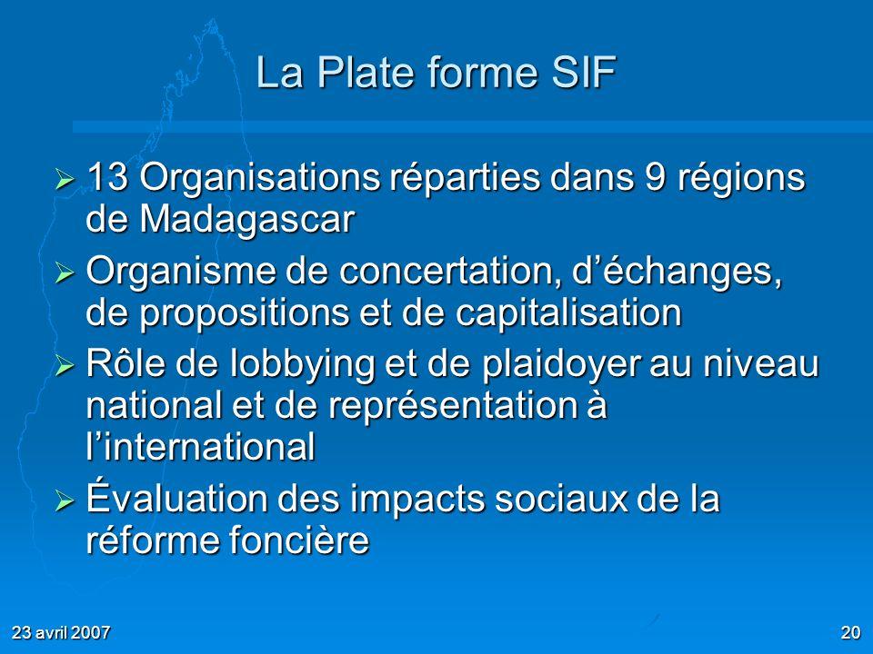 La Plate forme SIF 13 Organisations réparties dans 9 régions de Madagascar.