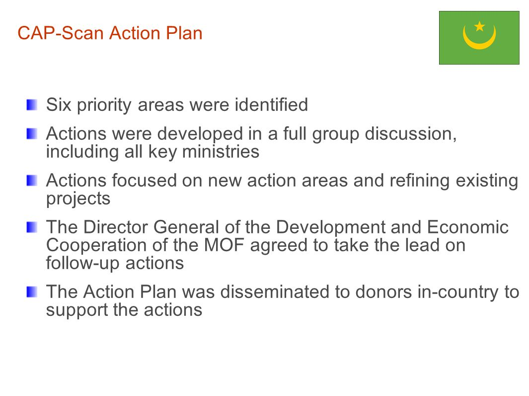 CAP-Scan Action Plan Six priority areas were identified. Actions were developed in a full group discussion, including all key ministries.