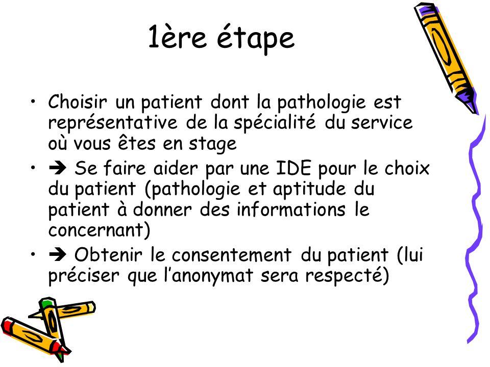 1ère étape Choisir un patient dont la pathologie est représentative de la spécialité du service où vous êtes en stage.