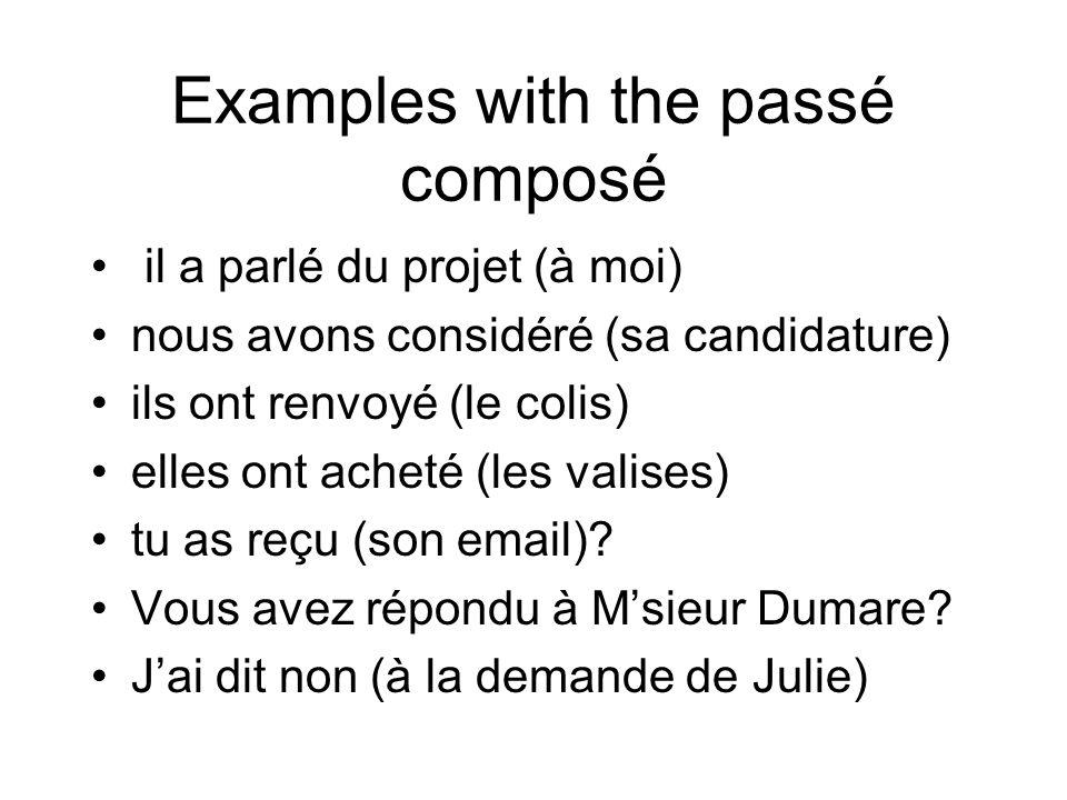 Examples with the passé composé