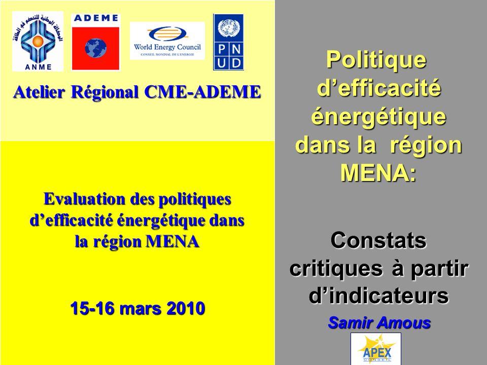 Politique d'efficacité énergétique dans la région MENA: