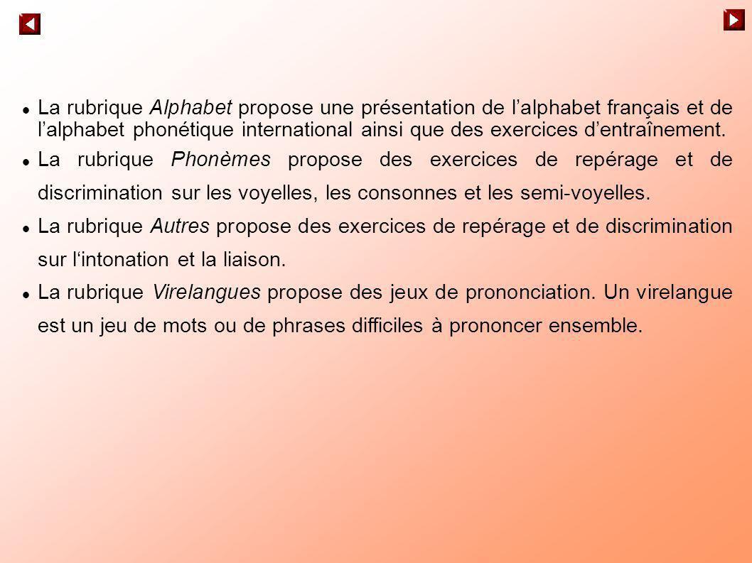 La rubrique Alphabet propose une présentation de l'alphabet français et de l'alphabet phonétique international ainsi que des exercices d'entraînement.