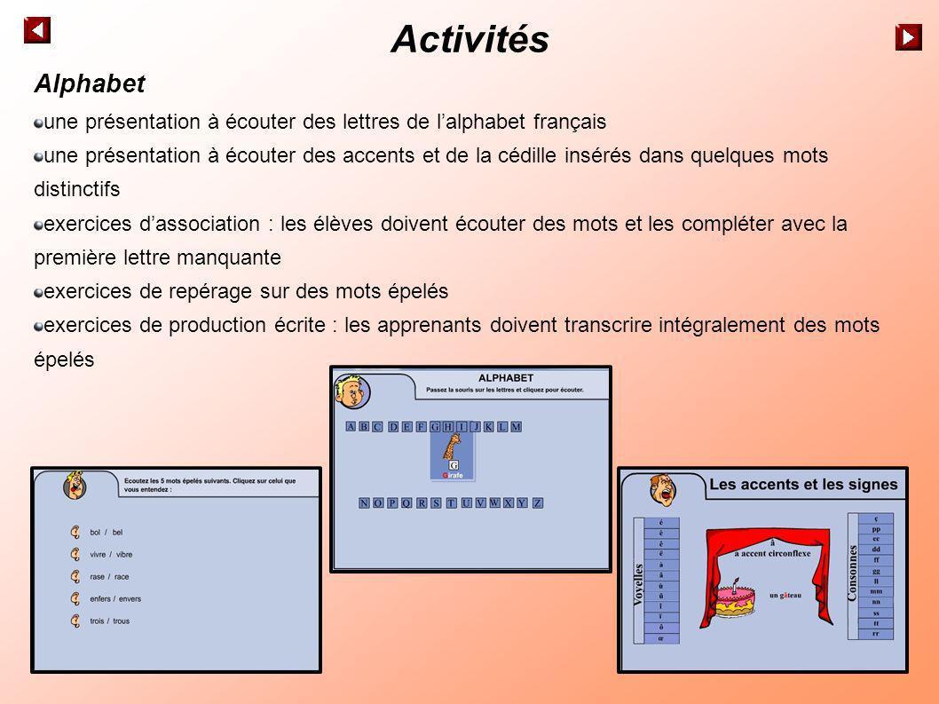 Activités Alphabet une présentation à écouter des lettres de l'alphabet français.