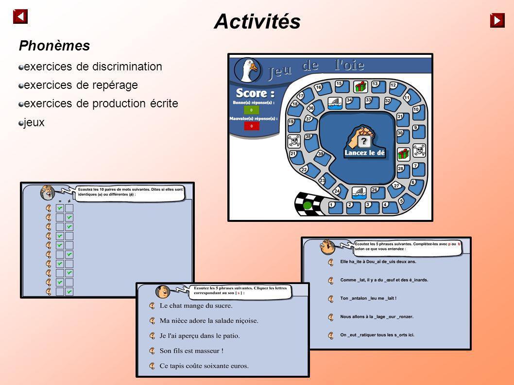 Activités Phonèmes exercices de discrimination exercices de repérage