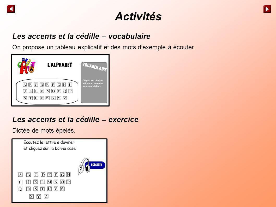 Activités Les accents et la cédille – vocabulaire