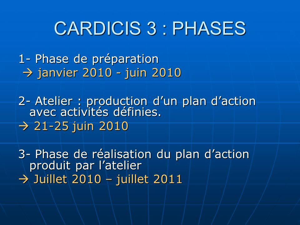 CARDICIS 3 : PHASES 1- Phase de préparation  janvier 2010 - juin 2010