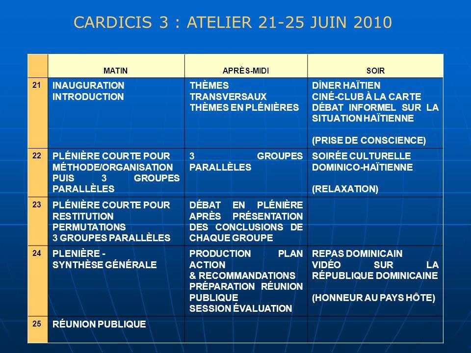 CARDICIS 3 : ATELIER 21-25 JUIN 2010