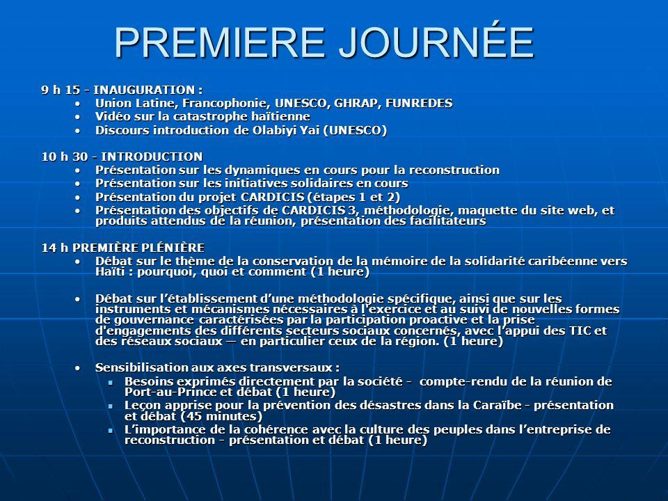 PREMIERE JOURNÉE 9 h 15 - INAUGURATION :