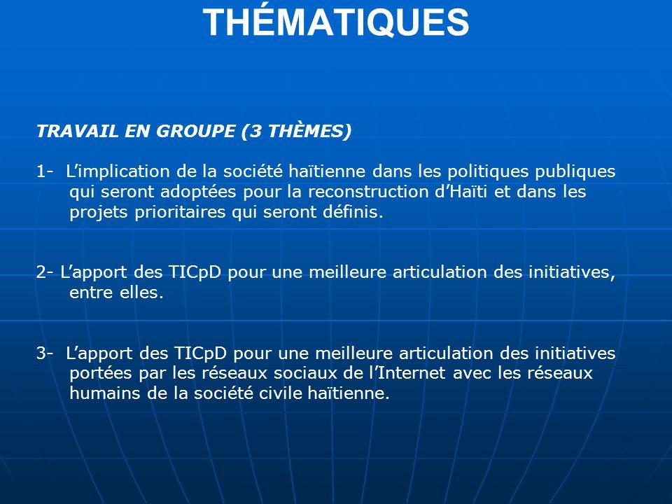 THÉMATIQUES TRAVAIL EN GROUPE (3 THÈMES)