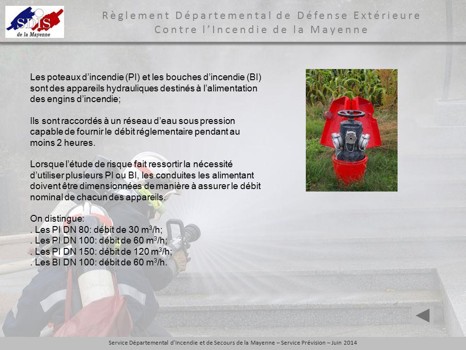Les poteaux d'incendie (PI) et les bouches d'incendie (BI) sont des appareils hydrauliques destinés à l'alimentation des engins d'incendie;