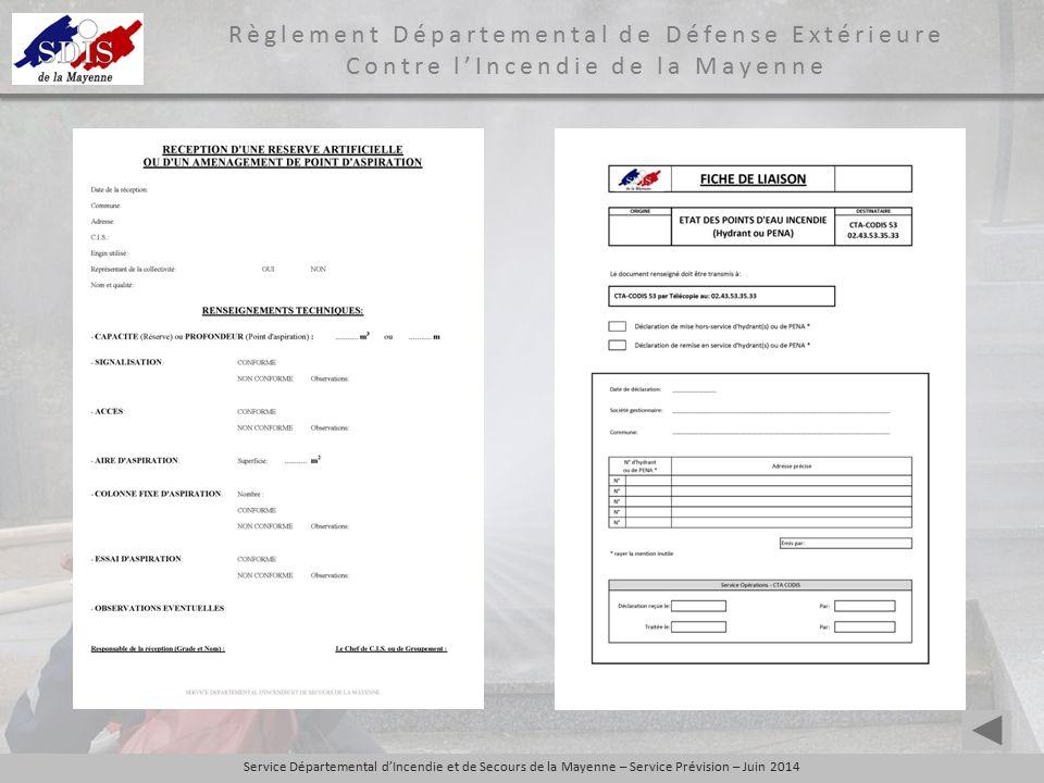 Service Départemental d'Incendie et de Secours de la Mayenne – Service Prévision – Juin 2014