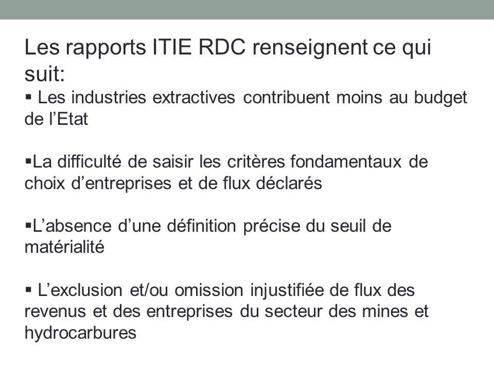 Les rapports ITIE RDC renseignent ce qui suit: