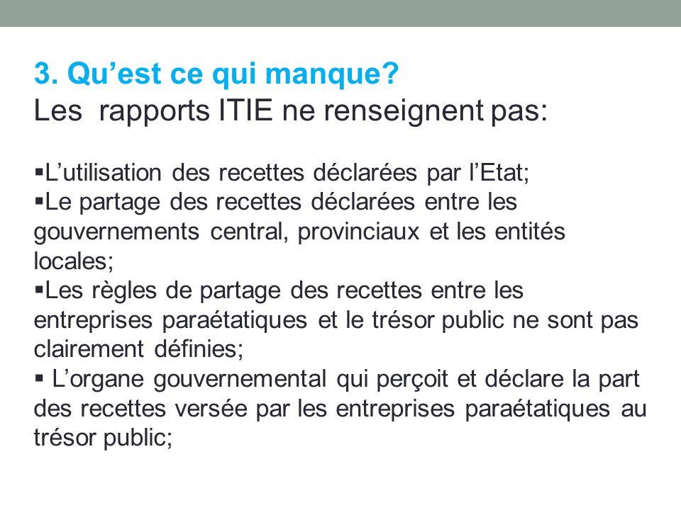 Les rapports ITIE ne renseignent pas: