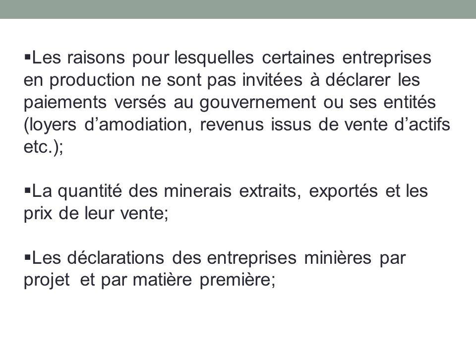 Les raisons pour lesquelles certaines entreprises en production ne sont pas invitées à déclarer les paiements versés au gouvernement ou ses entités (loyers d'amodiation, revenus issus de vente d'actifs etc.);