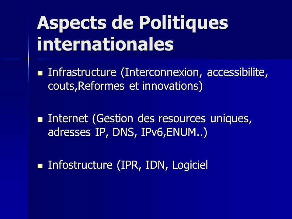Aspects de Politiques internationales