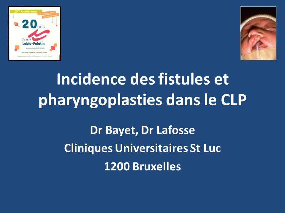 Incidence des fistules et pharyngoplasties dans le CLP