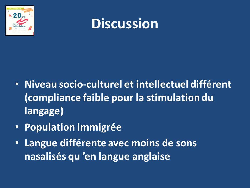 DiscussionNiveau socio-culturel et intellectuel différent (compliance faible pour la stimulation du langage)