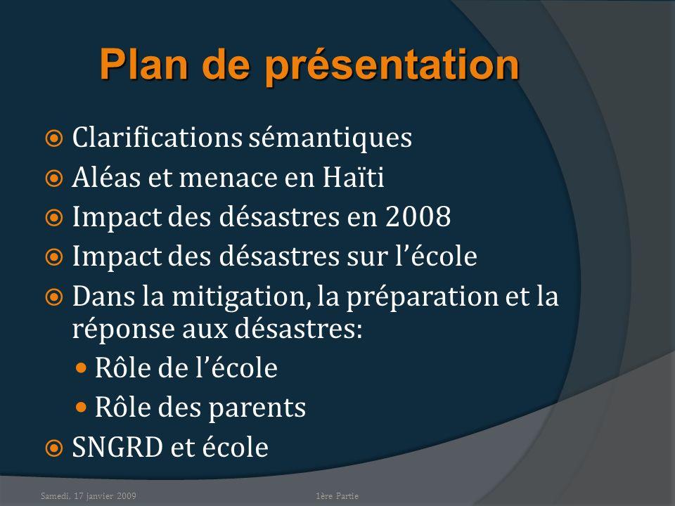 Plan de présentation Clarifications sémantiques