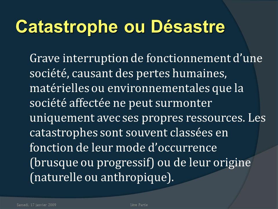 Catastrophe ou Désastre