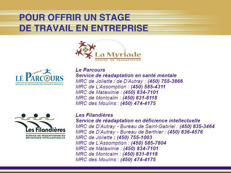 Le Parcours Service de réadaptation en santé mentale. MRC de Joliette / de D'Autray : (450) 755-3866.
