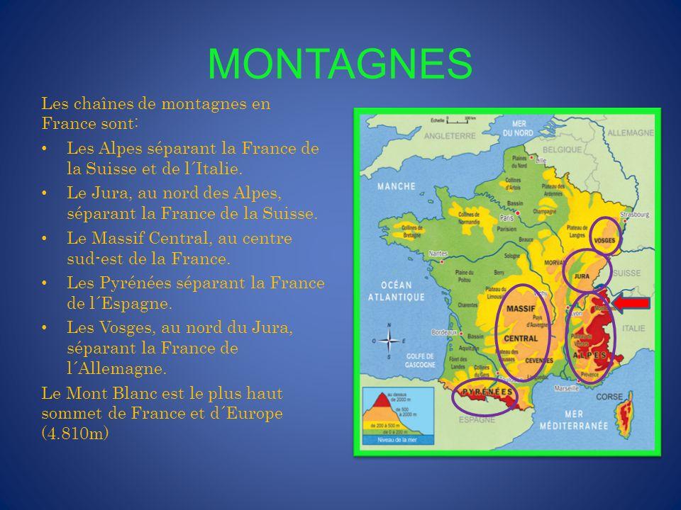 MONTAGNES Les chaînes de montagnes en France sont: