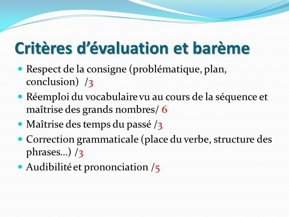 Critères d'évaluation et barème