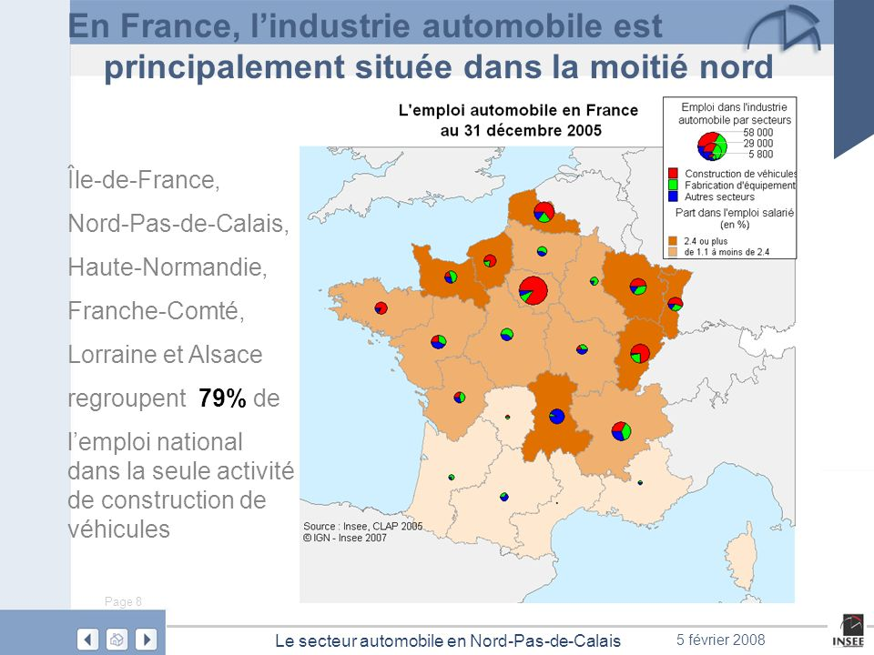 En France, l'industrie automobile est principalement située dans la moitié nord