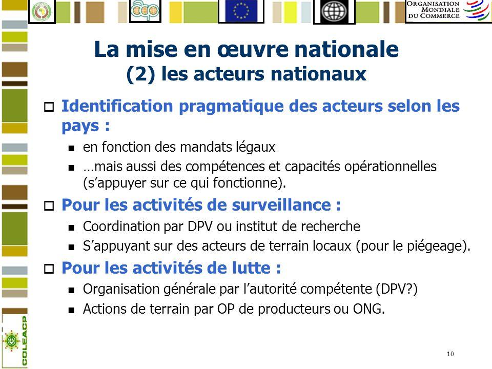 La mise en œuvre nationale (2) les acteurs nationaux