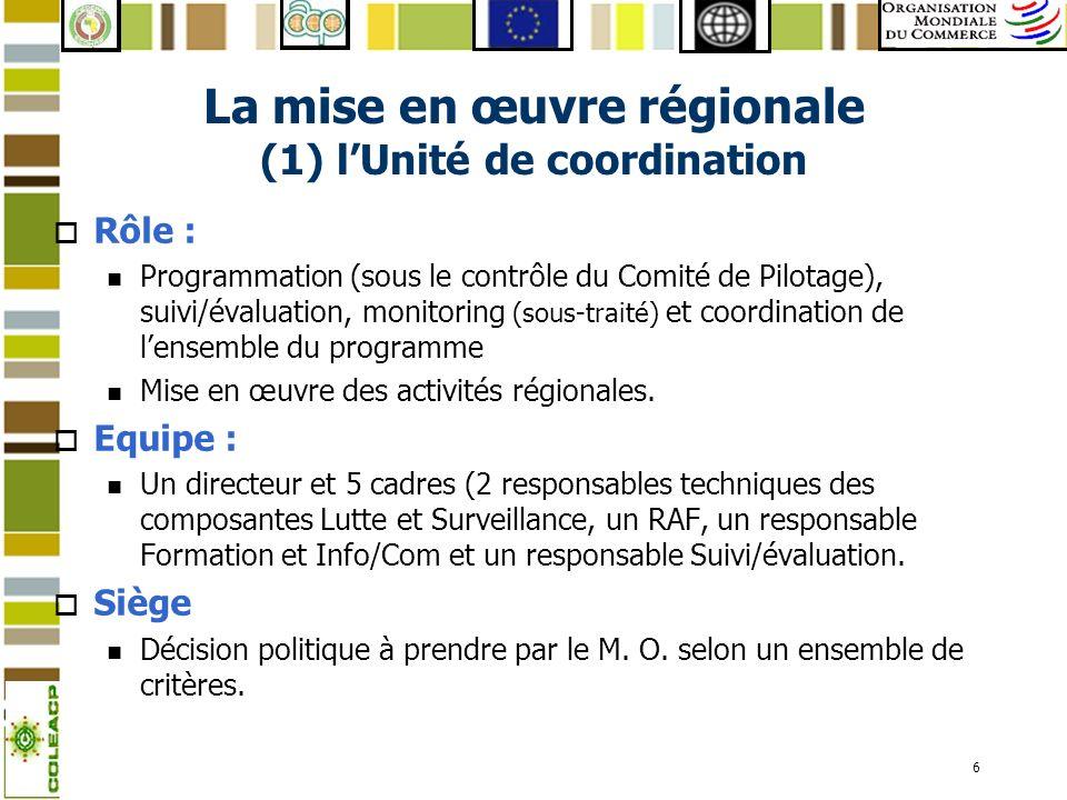 La mise en œuvre régionale (1) l'Unité de coordination