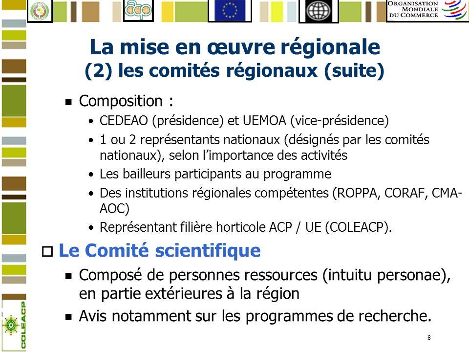 La mise en œuvre régionale (2) les comités régionaux (suite)
