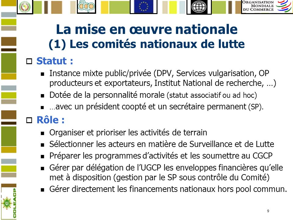 La mise en œuvre nationale (1) Les comités nationaux de lutte