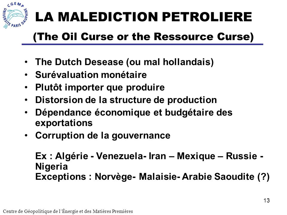 LA MALEDICTION PETROLIERE (The Oil Curse or the Ressource Curse)