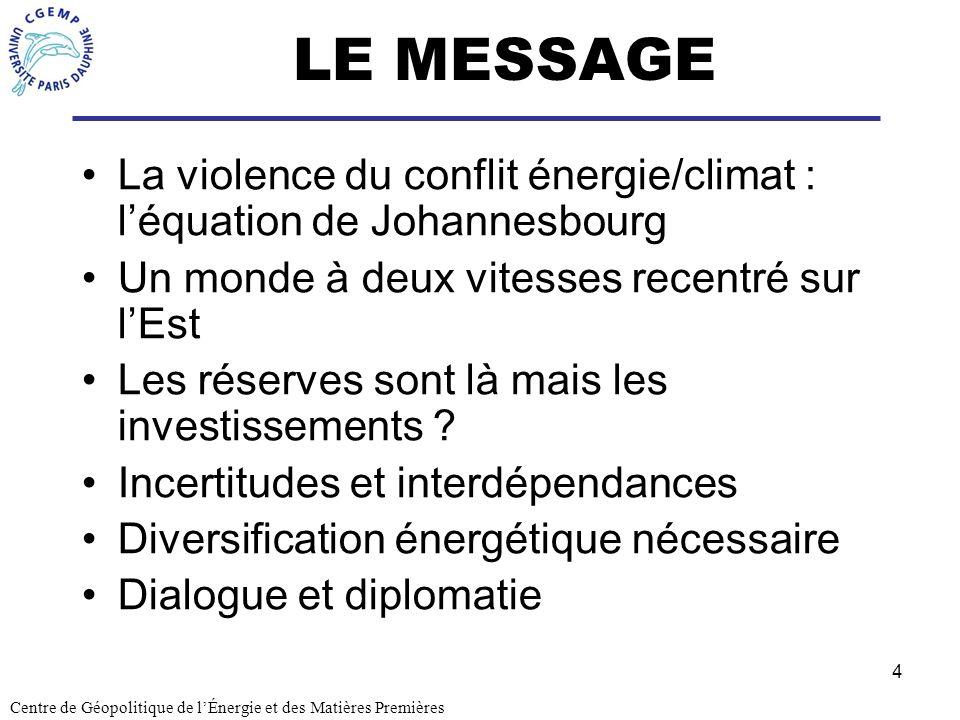 LE MESSAGE La violence du conflit énergie/climat : l'équation de Johannesbourg. Un monde à deux vitesses recentré sur l'Est.