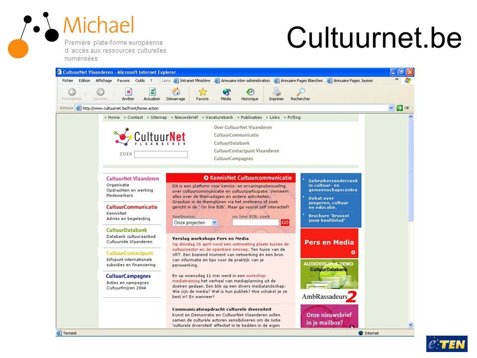 Cultuurnet.be Première plate-forme européenne d 'accès aux ressources culturelles numérisées