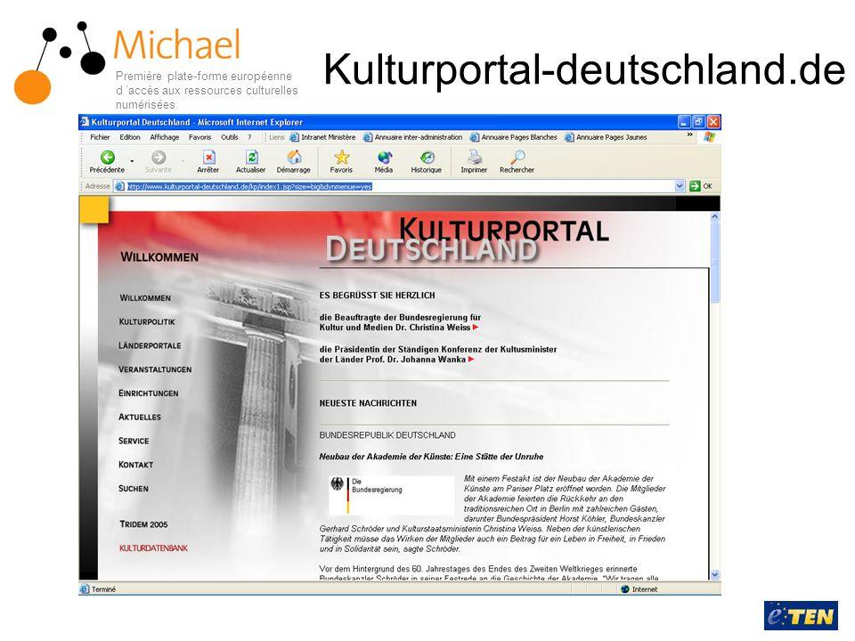 Kulturportal-deutschland.de Première plate-forme européenne d 'accès aux ressources culturelles numérisées.