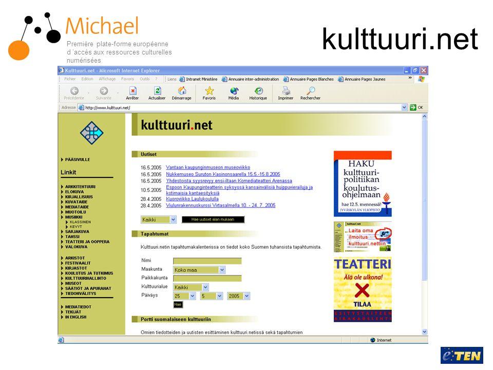 kulttuuri.net Première plate-forme européenne d 'accès aux ressources culturelles numérisées