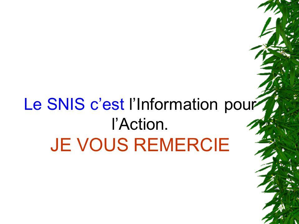 Le SNIS c'est l'Information pour l'Action. JE VOUS REMERCIE