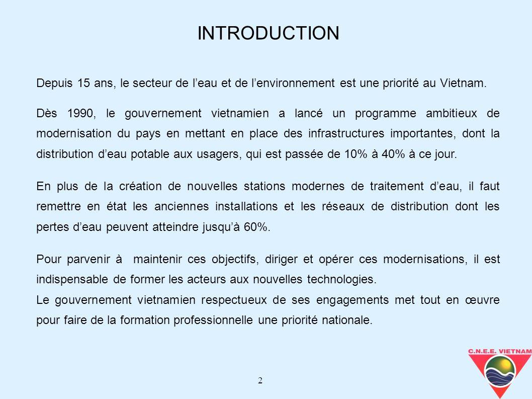 INTRODUCTION Depuis 15 ans, le secteur de l'eau et de l'environnement est une priorité au Vietnam.