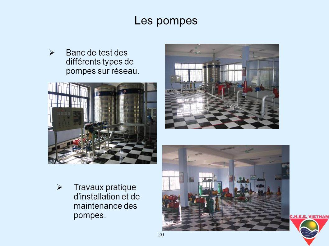 Les pompes Banc de test des différents types de pompes sur réseau.