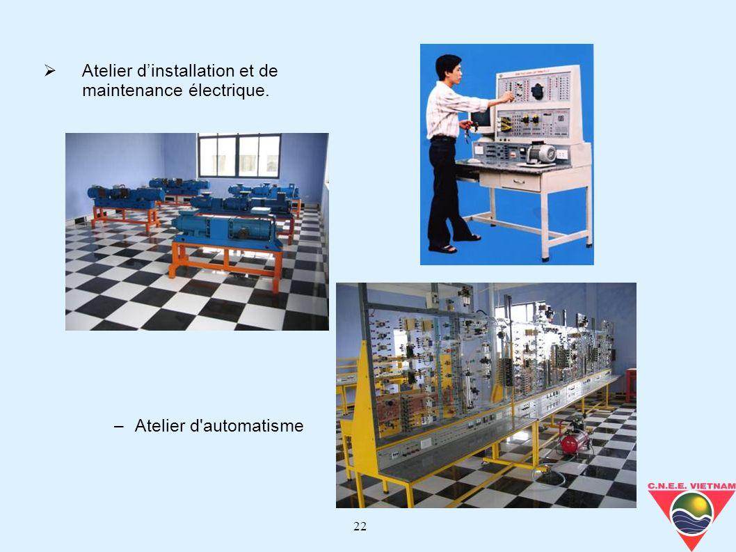 Atelier d'installation et de maintenance électrique.