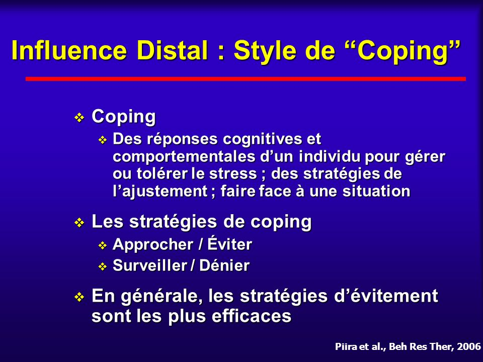 Influence Distal : Style de Coping