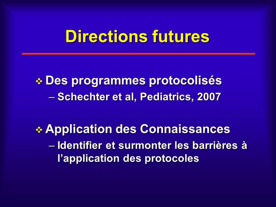 Directions futures Des programmes protocolisés