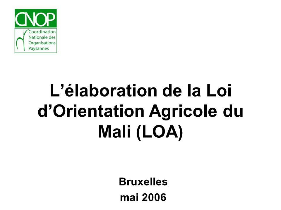 L'élaboration de la Loi d'Orientation Agricole du Mali (LOA)