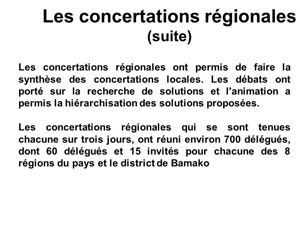 Les concertations régionales (suite)