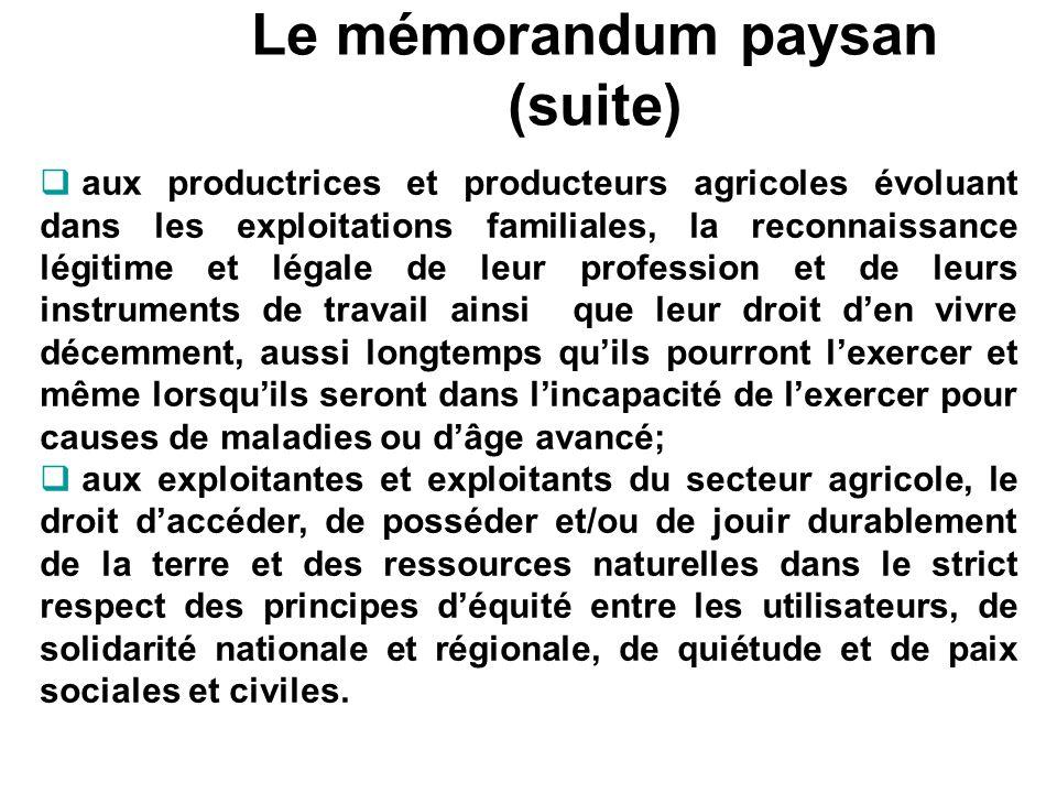 Le mémorandum paysan (suite)