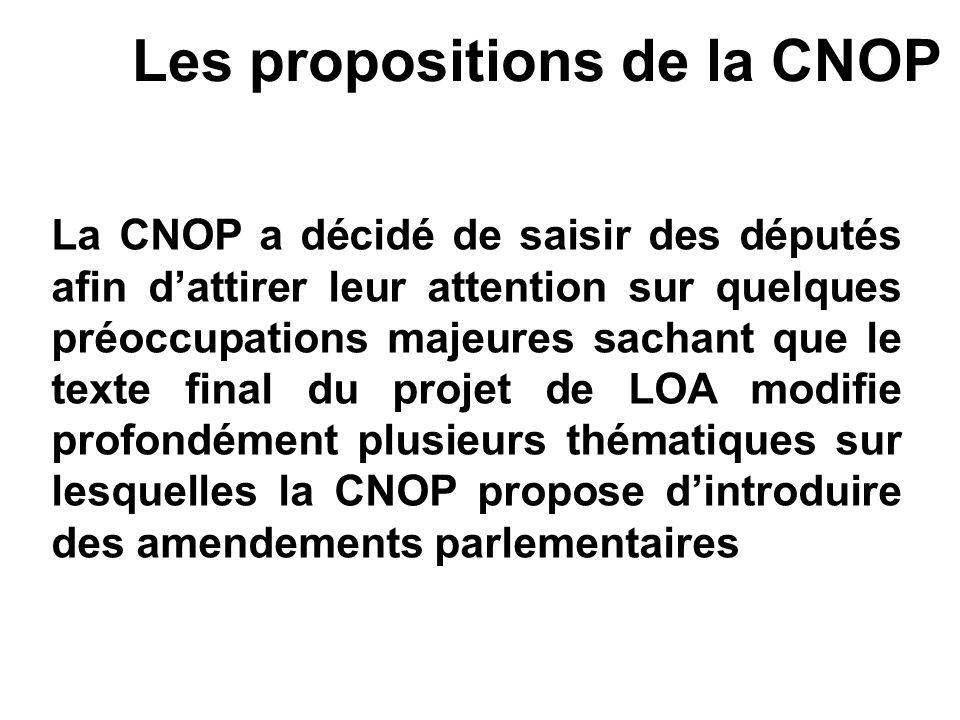 Les propositions de la CNOP