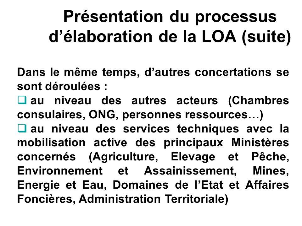Présentation du processus d'élaboration de la LOA (suite)