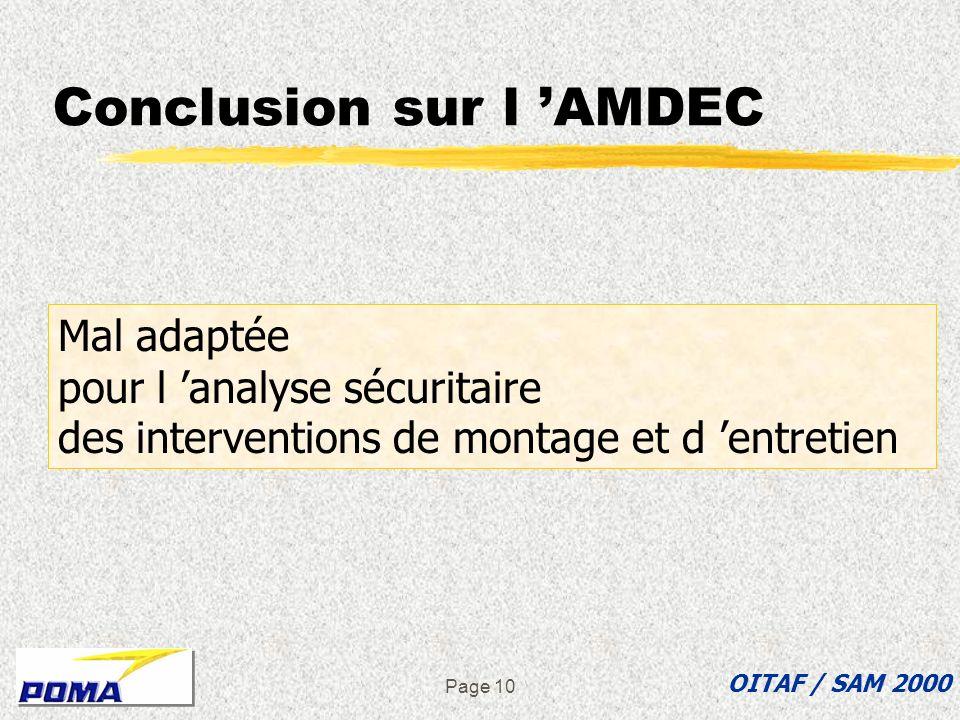 Conclusion sur l 'AMDEC