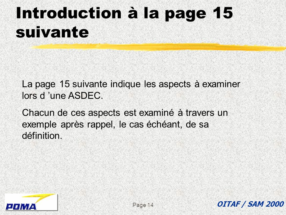 Introduction à la page 15 suivante